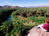 Woman Looking over Rio Mulege from Viewpoint, Mulege, Baja California Sur, Mexico Photographic Print by John Elk III
