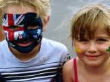 Children with Their Faces Painted at Australian Tennis Open, Melbourne, Victoria, Australia Photographic Print by Daniel Boag