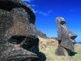 Half Submerged Traditional Moai at Rano Raraku, Easter Island, Valparaiso, Chile Photographic Print by Brent Winebrenner