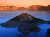 The Watchman and Wizard Island, Sunset, Crater Lake National Park, Oregon Photographic Print by John Elk III
