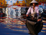 Woman in Boat, Reflection of Newly Painted Boat on Perfume River, Hue, Thua Thien-Hue, Vietnam Photographic Print by Stu Smucker