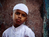 Muslim Boy in Chandni Chowk, Delhi, India Photographic Print by Daniel Boag