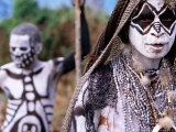 Sing Sing Group Members with Skeleton-Like Body Paint at Mt. Hagen Cultural Show, Papua New Guinea Photographic Print by John Banagan