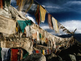 Prayer Flags Above Leh, Ladakh, Leh, Jammu and Kashmir, India Photographic Print by Richard I'Anson
