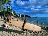 Surfer on Waikiki Beach, Oahu, Hawaii Photographic Print by Holger Leue