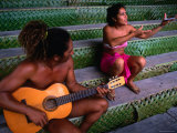 Polynesian Musicians, Tahiti, the Society Islands, French Polynesia Photographic Print by Peter Hendrie
