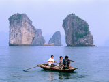 People Fishing in Small Boat with Karsts in Background, Ha Long, Bac Giang, Vietnam Photographic Print by Christopher Groenhout