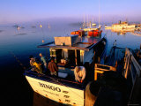 Fishing Boats at Sunrise, Boothbay Harbor, Boothbay, Maine Lámina fotográfica por John Elk III