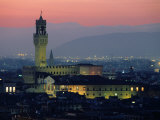 City Skyline, with Palazzo Vecchio, Illuminated at Dusk, Florence, Tuscany, Italy Photographic Print by John Elk III