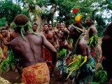 Villagers Performing Traditional Dance at Iunier Kastom Village, Tanna Island, Tafea, Vanuatu Photographic Print by Richard I'Anson