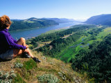 Woman Looking over Columbia River, Crown Point Sp, Columbia River Gorge, Oregon Photographic Print by John Elk III