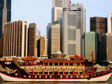 Chinese Junk and City Skyline at Dawn, Singapore Photographic Print by Michael Coyne