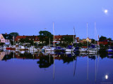 Town Harbour at Night, Raa, Skane, Sweden Photographic Print by Anders Blomqvist