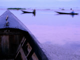 Detail of Boat's Bow with People Paddling Boats Beyond, Myanmar Photographic Print by Stu Smucker