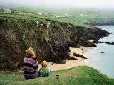 Mother with Son Enjoying Slea Head Beach, Dingle Peninsula, Ireland Photographic Print by Holger Leue