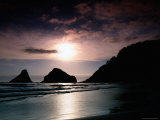 Rocky Outcrops Silhouetted, Heceta Head State Beach, Florence, Oregon Photographic Print by Richard Cummins