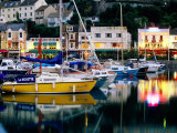 Lights and Yachts Reflected in Harbour at Dusk, Torquay, Torbay, England Photographic Print by David Tomlinson