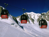Valle Blanche Aerial Tramway Cabins, Rhone-Alpes, France Photographic Print by John Elk III