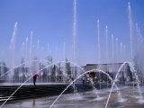 Fountain in Front of Big Goose Pagoda, Xi'an, Shaanxi, China Photographic Print by Krzysztof Dydynski
