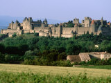 La Cite, 12th Century Castle in Distance, Carcassonne, Languedoc-Roussillon, France Photographic Print by John Elk III