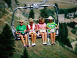 Four Women on Chairlift, Sun Valley, Idaho Photographic Print by Holger Leue