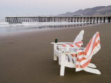 Beach Chairs and Pier at Sunrise, Pismo Beach, California Photographic Print by Brent Winebrenner