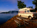 Campervan Parked Beside Lake, Ozark National Park, Missouri Photographic Print by John Elk III
