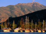 Moored Yachts with Mountains Behind, Fethiye, Mugla, Turkey Photographic Print by John Elk III