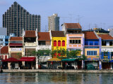 Former Chinese Shophouses, Now Restaurants, along Singapore River Boat Quay, Singapore Photographic Print by John Elk III