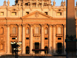 Facade of St. Peter's Basilica at Sunrise, Piazza San Pietro, Vatican City, Rome, Lazio, Italy Photographic Print by David Tomlinson