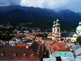 View over Altstadt and Nearby Mountains, Innsbruck, Tirol, Austria Photographic Print by Glenn Beanland
