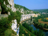 Steep Cliffs on Banks of Lot River, Bouzies, Midi-Pyrenees, France Photographic Print by John Elk III