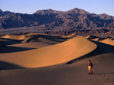 Stovepipe Wells, Sand Dunes with Hiker, Death Valley National Park, California Photographic Print by John Elk III