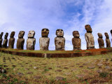 Moai at Ahu Tongakiri, Easter Island, Valparaiso, Chile Photographic Print by Peter Hendrie