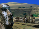 Traditional Carved Moai at Ahu Tongariki, Ahu Tongariki, Valparaiso, Chile Photographic Print by Brent Winebrenner