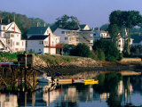 Houses along Boothbay Harbor, Boothbay, Maine Photographic Print by John Elk III