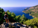 Hiking Mediterranean Coastline Between Kayakoy and Oludeniz, Kayakoy, Mugla, Turkey Photographic Print by John Elk III