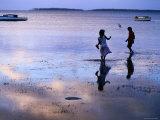 Children Standing in Shallow Tide, Tongatapu Island, Tongatapu Group, Tonga Fotografie-Druck von Peter Hendrie