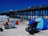 People Relaxing on Beach Beside Pier, North County, San Diego, California Photographic Print by Richard Cummins