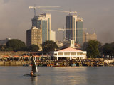 Fishing Dhow in Front of Fish Market with Skyscrapers Behind, Dar Es Salaam, Tanzania Photographic Print by Ariadne Van Zandbergen