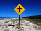 Aeroplane Warning Sign on Beach, Eurong, Queensland, Australia Photographic Print by Holger Leue