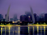 City Skyline in Fog, with Gateway Arch and Mississippi River, St. Louis, Missouri Photographic Print by John Elk III
