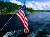 American Flag on Boat, Lake Coeur d'Alene, Coeur d'Alene, Idaho Photographic Print by Holger Leue