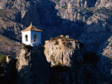 Clifftop Bell-Tower with Backdrop of Rugged Mountains, Guadalest, Valencia, Spain Photographic Print by David Tomlinson