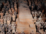 Life Size Terracotta Soldiers in Battle Formation, Xi'an, Shaanxi, China Photographic Print by Krzysztof Dydynski