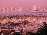 Downtown Skyline at Sunset, San Diego, California Fotografisk tryk af John Elk III