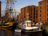 Ships Moored at the Mersey Maritime Museum, Albert Dock, Liverpool, England Photographic Print by Glenn Beanland