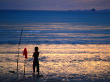 Boy Playing Goal Keeper in Soccer Game on Beach, Ao Nang, Krabi, Thailand Photographic Print by Glenn Beanland