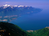 Montreux, Lake Geneva and French Alps from Rochers de Naye, Montreux, Vaud, Switzerland Papier Photo par Glenn Van Der Knijff