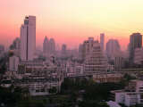 Sunset over City Buildings, Bangkok, Thailand Photographic Print by Stu Smucker